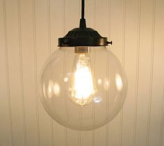 Biddeford. Clear Globe PENDANT Light by LampGoods on Etsy, $95.00