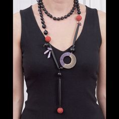 Very Long Necklace  Black Horn Beads  Bone Tubes  Spong by natartg, €70.00