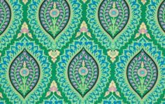 Amy Butler Alchemy - Emerald Imperial Paisley Fabric - Fabric