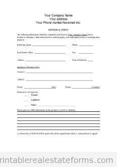 Sample Printable Referral Sheet For Realtors Form Latest Sample within Free Referral Fee Agreement Template - Professional Templates Ideas Real Estate Forms, Online Real Estate, Book Report Templates, Best Templates, Real Estate Templates, Legal Forms, Order Form Template, Reading Comprehension Worksheets, Statement Template
