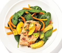 Get More Superfoods: Salmon With Avocado-Orange Salsa. The Skinny: 366 calories per serving, 20 g fat (3 g saturated), 25 g carbs, 11 g fiber, 24 g protein