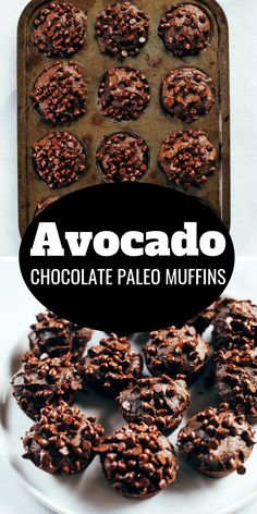 Avocado chocolate muffins that make for an easy paleo breakfast! Gluten free muffins made with almond flour and avocado. Kid approved muffins that taste like brownies!