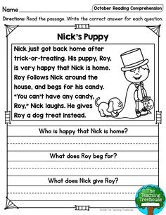 October Reading Comprehension Passages for Kindergarten and First Grade I hope that your students will enjoy these no prep October themed reading passages! Included are a mix of twenty fiction and nonfiction sigh 1st Grade Reading Worksheets, First Grade Reading Comprehension, Reading Comprehension Worksheets, Reading Fluency, Reading Passages, Kindergarten Reading, Reading Skills, Guided Reading, Reading For Beginners