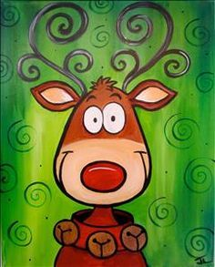 Crazy Reindeer - Tallahassee, FL Painting Class - Painting with a Twist