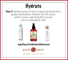 Put away those body butters and gel moisturizes, and say hello to serums and facial mists! ‪#‎31DaysToBetterSkincare‬