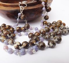 Purple opal and lace opal necklace opal necklace by graciedot