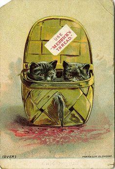 """Use Merrick's Thread"" - Victorian trade card"