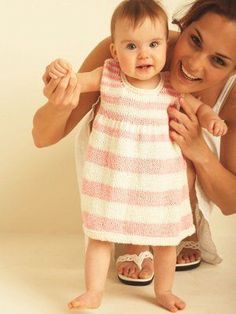 Perfect for novice knitters, the Sweet and Simple Baby Dress features a stockinette stitch construction with darling pink and white stripes. This adorable knit baby dress pattern will keep knitters engaged from cast on to cast off. Knit Baby Dress, Knitted Baby Clothes, Baby Knits, Baby Dress Patterns, Baby Knitting Patterns, Crochet Patterns, Summer Patterns, Pattern Dress, Knitting Ideas