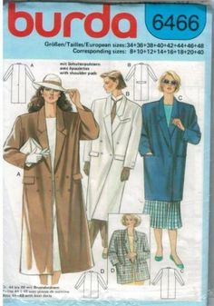 Fashion double breasted coat pattern in two lengths from Burda Patterns!