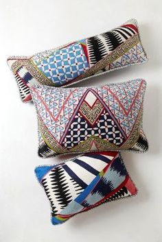 Hand Embroidered Alamo Pillow #Anthropologie #PinToWin