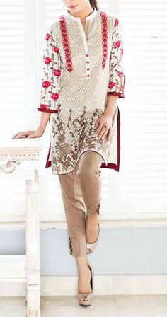 Light Brown/White Embroidered Viscose Dress (2pc) Contact: (702) 751-3523  Email: info@pakrobe.com  Skype: PakRobe