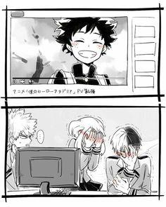 Izuku, smiling, blushing, Katsuki, Ochako, Shouto, funny, Internet, computer, video, text; My Hero Academia