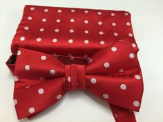 Stacy Adams Bow Tie & Hanky Set Fire Red with White Polka Dots Men's Microfiber #StacyAdams #BowTie