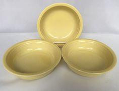 3 Fiesta Yellow Cereal Bowls Salad Soup Contemporary Fiestaware Homer Laughlin #Fiesta #Cerealsoupsalad