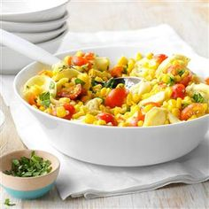 Cheese Tortellini with Tomatoes and Corn Recipe -Fresh corn and basil make this dish taste like summer. I think it's a good one for bringing to picnics or gatherings, but it's great alongside any entree for weeknight dinners! —Sally Maloney, Dallas, Georgia