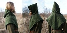 Hand sewn viking age woolen hood. (Large type) by Henord
