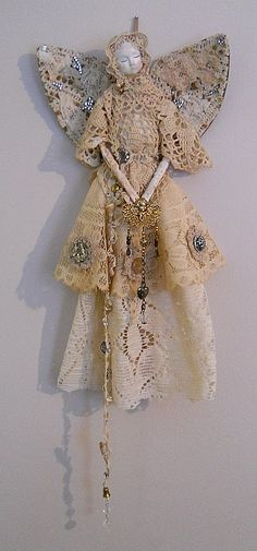 Angel Art Doll Handmade of Paper Clay Fabric Body by PapernLace