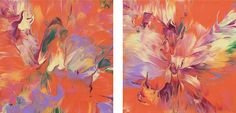 "Expansion,"" original abstract painting, diptych, 10"" x 20"