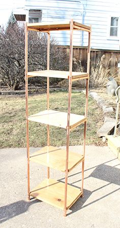 "White Oak & Copper Pipe Tower Book Shelves by Paul Segedin and Urban Prairie Design. Unit is made from white oak and from copper pipe ~ 72"" high x 19"" wide x 15"" deep."