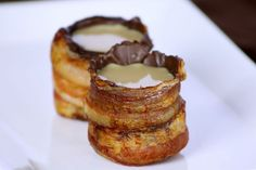 Bacon shotglasses, lined with chocolate and filled with booze