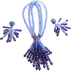 Designer: Made in Italy by Coppola Toppo CONDITION: This necklace designed by Lyda Coppola in the 1965 made blue  half crystal granes. It has a