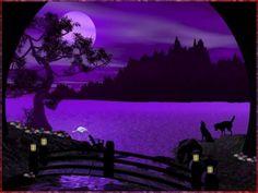 PURPLE MOON - flowers, animals, trees, sky, night, water, purple, clouds, moon, bridge, mountains