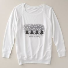 Winter is Coming Snowflakes Black Pine Forest Chic Plus Size Sweatshirt - diy individual customized design unique ideas