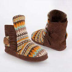 MUK LUKS Jaci Desert Fairisle Bootie Slippers