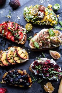Summer Crostini 6 Ways - 6 yummy crusty bread toppers. Perfect fingerfood for the 4th of July, their even topped in red, white & blue! @halfbakedharvest.com