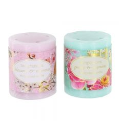 Bird and flower scented pillar candles. Available in Peony&Jasmine (aqua) and Blossom&Mimosa (pink) scents. Small only. £5.50 each or two for £9.00