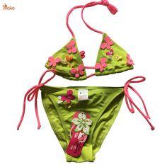 c696b8126bc05 2-10T Children Swimwear Falbala Girls Swimwear Baby Kids Biquini Infantil Swimsuit  Bikini Set 2017