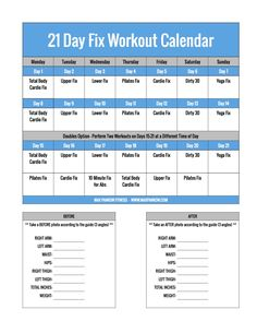 Keep track of your workouts and body measurements in one simple spot!  This is the ultimate workout calendar/tracker for 21 Day Fix participants!  Find out more about my 21 Day Fix Bootcamp on the blog...