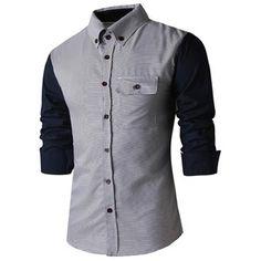 Classic Spliced Turn Down Collar Long Sleeve Shirt For Men