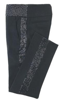 Pantaloni neri con paillettes laterali