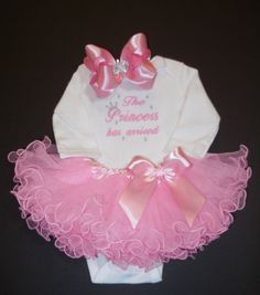 The Princess has arrived embroidered newborn by LittleQTCouture, $45.00