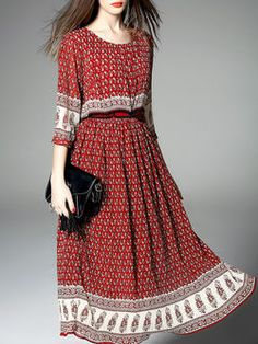 Red Crew Neck Casual Swing Silk Maxi Dress