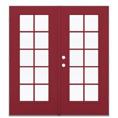 ReliaBilt 71.5-in 10-Lite Glass Roma Red Steel French Outswing Patio Door