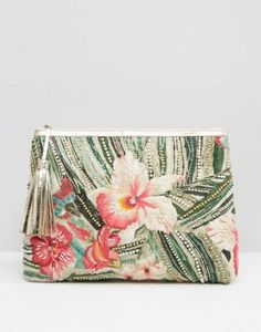 Buy Star Mela Tropical Embroidered Clutch Bag at ASOS. With free delivery and return options (Ts&Cs apply), online shopping has never been so easy. Get the latest trends with ASOS now. Tassel Purse, Beaded Clutch, Beaded Purses, Best Leather Wallet, Leather Pouch, Motif Tropical, Embroidery Purse, Cosmetic Pouch, Bead Jewellery