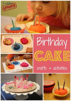 : Birthday Cake Crafts & Activities,including pretend play, play-doh, counting, and creating! Happy Birthday Crafts, Preschool Birthday, Classroom Birthday, Birthday Activities, Christmas Activities, Craft Activities, Preschool Crafts, Toddler Activities, Crafts For Kids