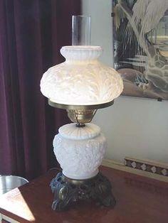 White Milk Glass Lamp Shade: Fenton white milk glass - Lovely Lamp<3,Lighting