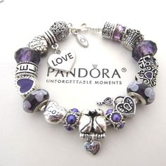 Authentic Pandora 925 Silver Bracelet w/ Euro Charms Love Key to my Heart New #PandoraBracelet #European #Love #Lovebirds #keytomyheart