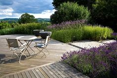 Anthony Paul Landscape Design love the decking over pebbles and boarders
