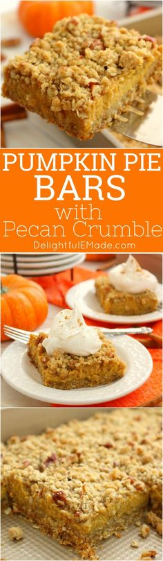 Even easier than pie, these Pumpkin Pie Bars with Pecan Crumble are the perfect fall dessert! Made with a simple oatmeal brown sugar crust, and topped with an amazing pecan crumble, this pumpkin dessert will be even more popular than the classic pie! #pumpkinpiebars #pumpkin