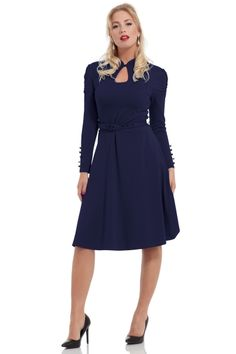 If we listed our dresses based on elegance then Dita would be front and centre. This chic look features a demi-flared skirt that falls perfectly at your sides while a matching belt defines your shape. A high neck button clasp and a classy keyhole chest cu 50s Outfits, Fashion Outfits, Womens Fashion, Work Dresses For Women, Vintage Inspired Fashion, Navy Dress, Winter Dresses, Flare Skirt, Fashion Accessories