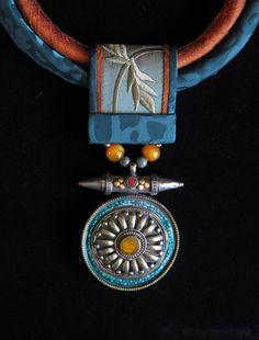Green & Orange Silks with Tibetan Medallion by gretchenschields