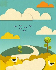 This is a very simple illustration. It has a calm feeling to it. The desaturation of bright colors works well with the rest of the piece. Most of the shapes look like they were built with geometric shapes. Cut Paper Illustration, Free Vector Illustration, Simple Illustration, Graphic Illustration, Illustrations, Paper Cutting, Cut Out Animation, Vector Animation, Find My Pet