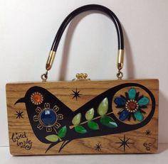 Fabulous Vintage ec Enid Collins Bird In Hand Wood Box Bag Purse Texas #EnidCollins #BoxBag