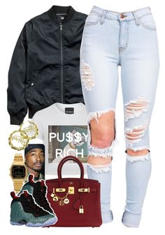 """Untitled #1451"" by power-beauty ❤ liked on Polyvore featuring H&M, Hermès, Casio, NIKE and Stussy"