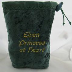 Dice Bag Pouch Velvet Dungeons and Dragons D&D RPG Role Playing Die Green Elven Princess at Heart Reversible Lined Elven Princess, Dice Bag, Nerd Love, Game Night, Embroidery Ideas, Dungeons And Dragons, Mistress, Medieval, Random Stuff