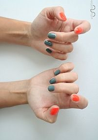 cocktail manicure: 3 fingers in 1 color, 2 in a different - such a fun nail color combi of khaki green + bright orange